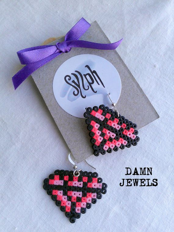 Earrings made of Hama Mini Beads Damn Jewels pink by SylphDesigns, €5.00