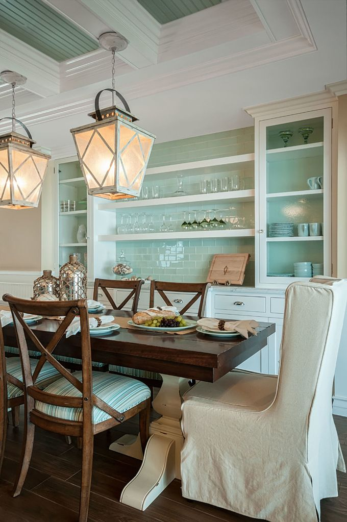 Beachy Dining Room In Shades Of White Aqua And Beige With Slipcovered Chairs At Ends The Table To Soften Hard Edges Wood