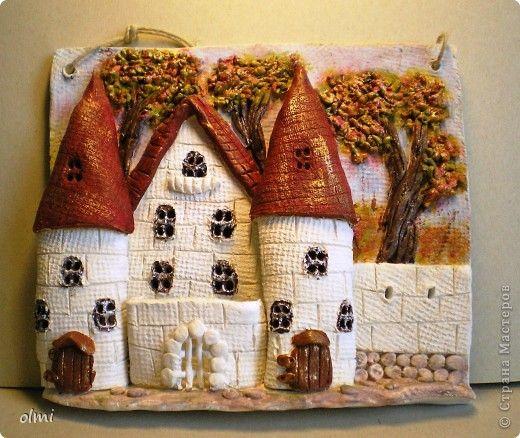 Картина панно рисунок Лепка Роспись Глиняные домики-картинки белокаменные Глина Краска фото 1