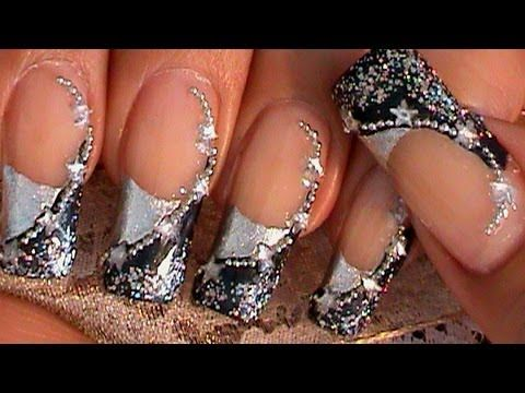 BLUE & SILVER STARS NAIL ART DESIGN TUTORIAL _I would use a lighter and brighter blue though