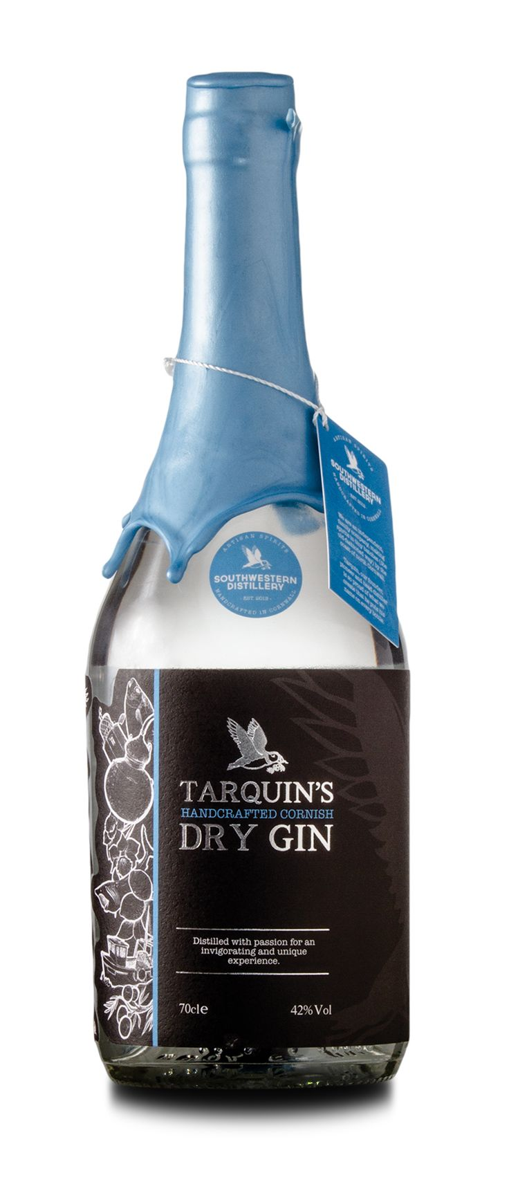 A contemporary take on a classic London Dry, we use fragrant handpicked Devon violets and fresh orange zest to deliver an aromatic sensation unlike any other.  We like to think the result is comparable to stumbling upon a beautiful orange blossom in the middle of a crisp, dry pine forest.  Only the best and most pure spirit (the heart) makes it into Tarquin's Gin, which is diluted to bottling strength at 42% with Cornish spring water.