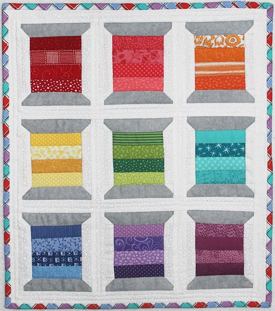 A couple of years ago, when I started redoing my quilting space, I was drawn to the Spools Mini Quilt pattern by Thimble Blossoms. I had lots of colorful scraps in my stash – so many that I decided to make four rows in each spool. I wanted each spool ...