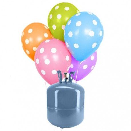 Pack: Bombona de helio + 30 globos lunares   En este pack que ofrecemos tendrás todo lo necesario para preparar una decoración fabulosa, gracias a los efectos que producen los globos mientras levitan.  Por un lado recibirás una bombona desechable con la cantidad suficiente como para llenar 30 globos de 25 cm de diámetro.  Por otro lado, 30 globos de lunares en los colores azul, amarillo, verde, rojo, rosa y naranja, y por último, un rollo de cinta para que puedas llevar los globos atados o…