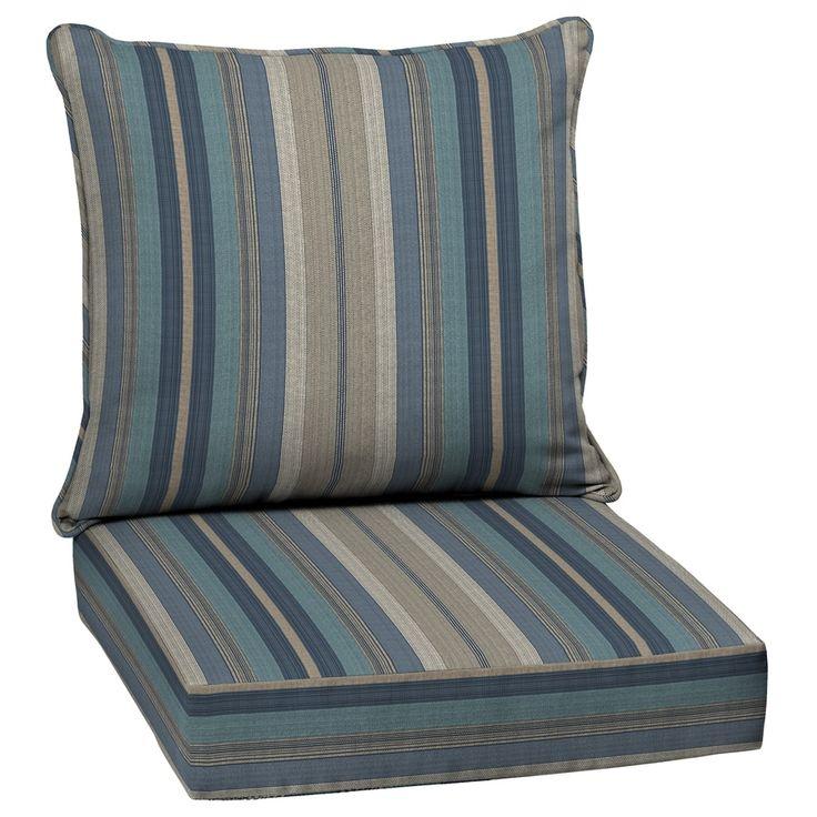 blue striped outdoor chair cushions