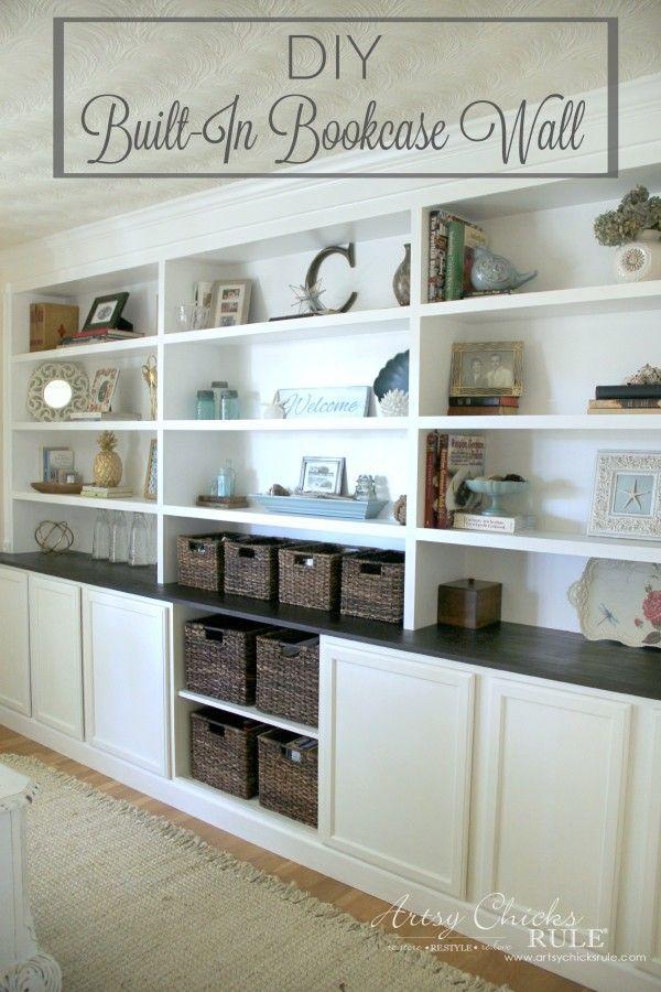 DIY Built-In Bookcase Wall - Custom Look DIY - artsychicksrule #bookcase #diy