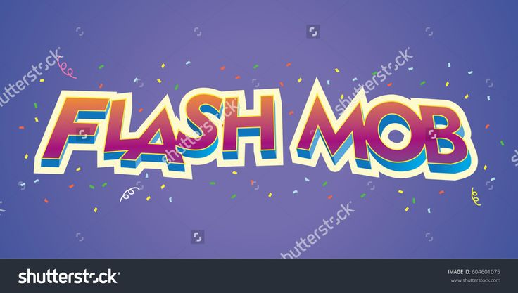 vector logo flash mob writing with an outline and red writing and confetty