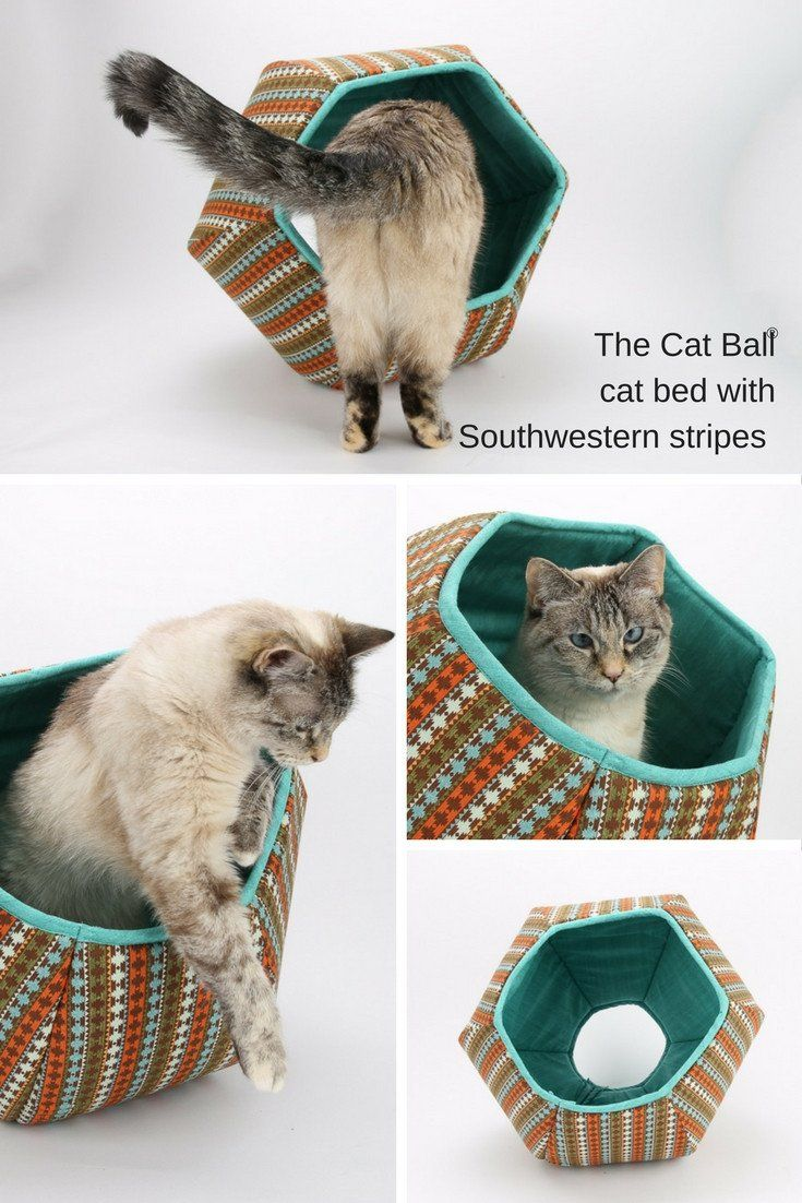 Cat Ball cat bed with Southwestern Fabric Stripes