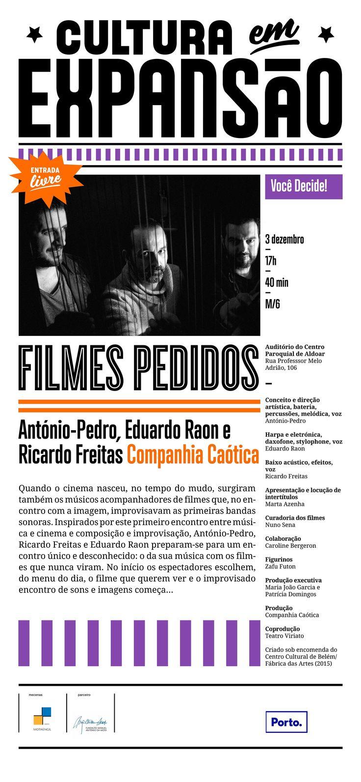 03 dezembro 17h00 | Filmes pedidos | Cultura em Expansão | Auditório do Centro Paroquial de Aldoar