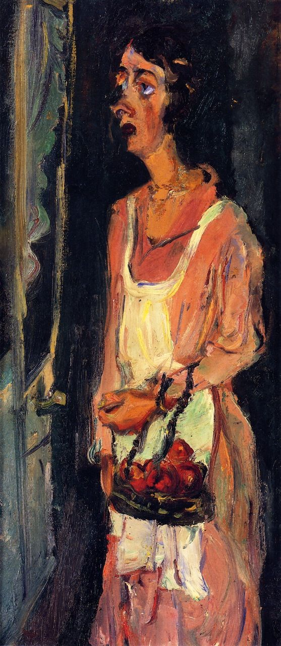 chaïm soutine(1894-1943), jeanne with bread basket, c. 1935-36. oil on cardboard, 65.1 x 30 cm. private collection http://www.the-athenaeum.org/art/detail.php?id=56761