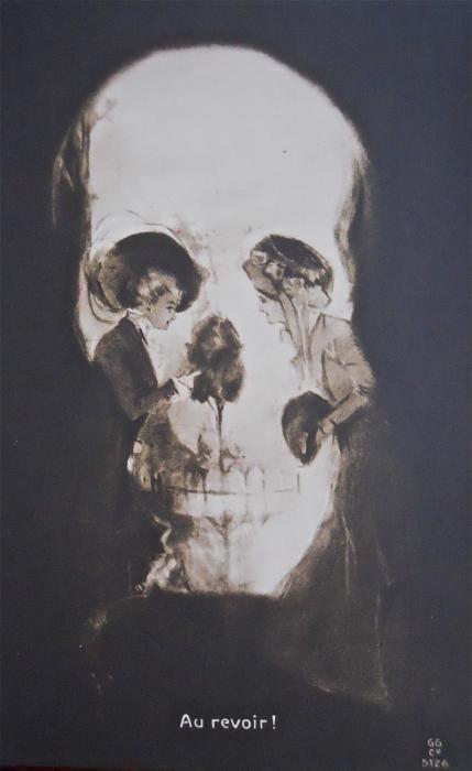 Au revoir!: Tattoo Ideas, Skull Illusions, Vintage Postcards, Skulls, Optical Illusions, A Tattoo, French Vintage, Skull Art, Bye