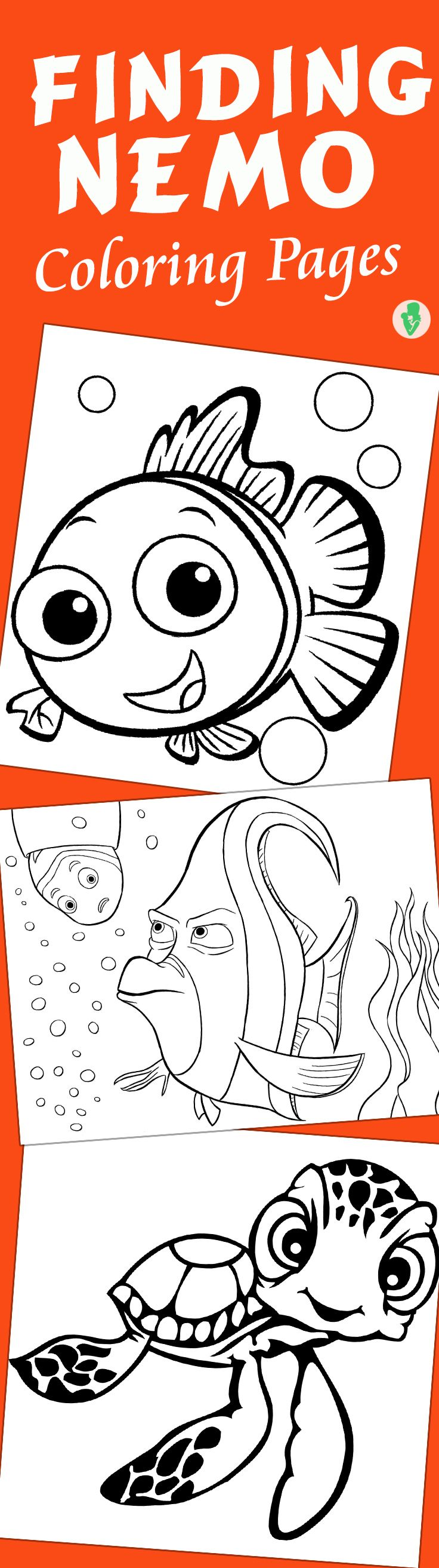 10 Cute Finding Nemo Coloring Pages // 10 páginas para colorear de Buscando a Nemo
