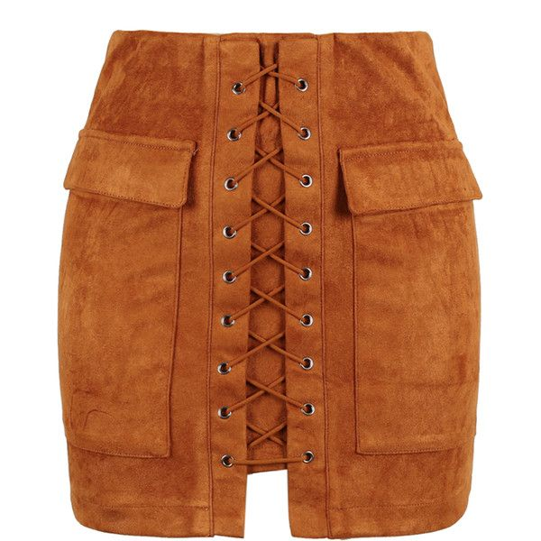 Brown Faux Suede Lace Up Front Pencil Mini Skirt ($26) ❤ liked on Polyvore featuring skirts, mini skirts, bottoms, saias, faldas, jupes, zipper skirt, pencil skirt, brown skirt and short skirts