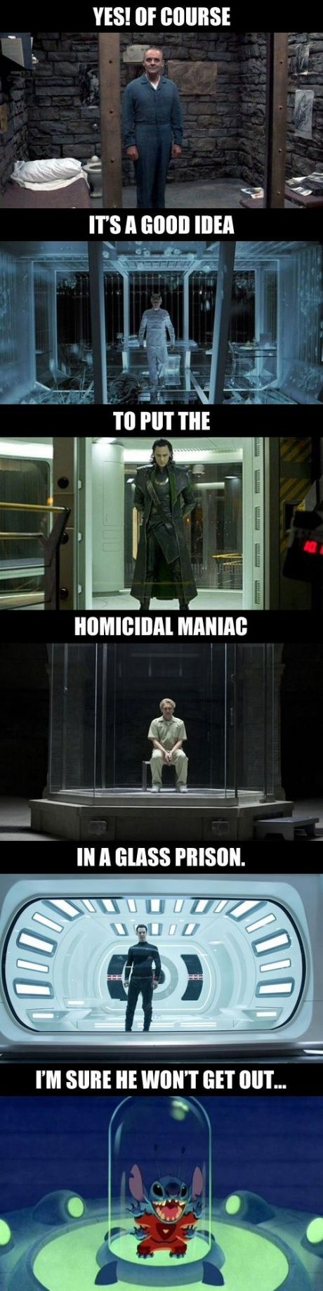 Whenever you see the bad guy in a glass cage, you know exactly what's going to happen next.