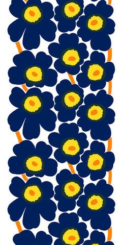 Unikko Fabric Ink Blue/Yellow/White | Kiitos Marimekko