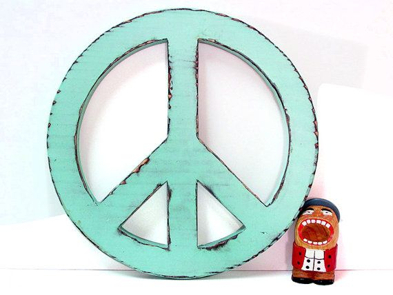 Peace sign in Mint Pine Wood Sign Wall Decor Rustic Americana Country Chic Decor Hippie Photo Prop on Etsy, $30.00