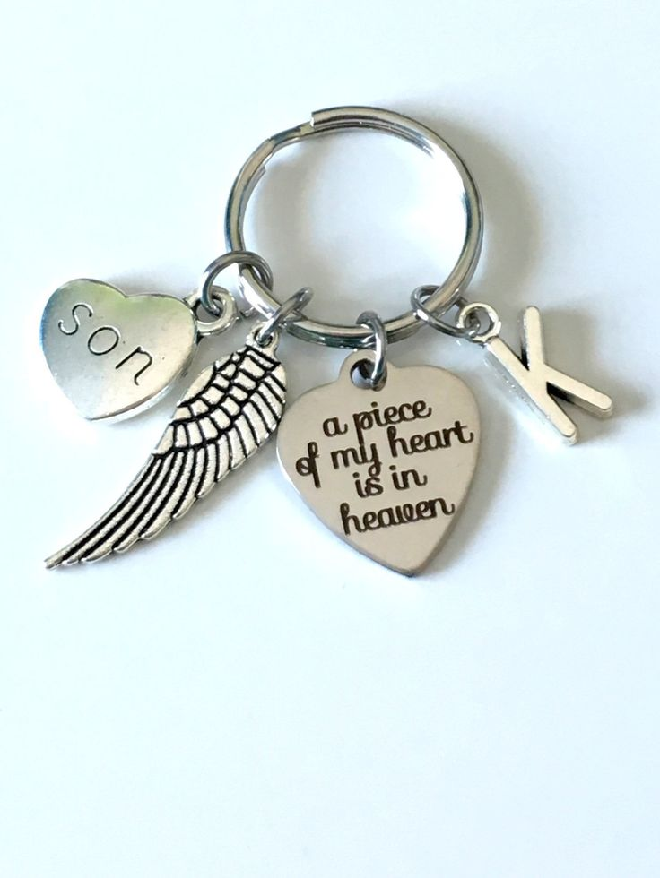 SALE Memorial Key Chain with Wing Charm, A piece of my heart is in Heaven Sympathy Gift Keychain Loss of Mom Dad Son Daughter Husband Wife by aJoyfulSurprise on Etsy