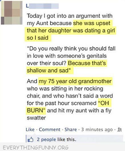 funny facebook status 75 year old grandmother oh burn