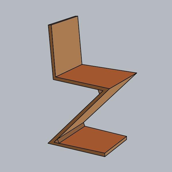 Mooie #illustraties van bekende #stoelen uit de afgelopen eeuw: #Zigzagstoel van Gerrit #Rietveld uit #1932