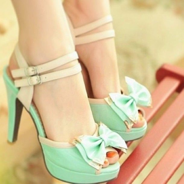 Shoes: heels mint bow pastel, bow, mint, high heels, sandals ...