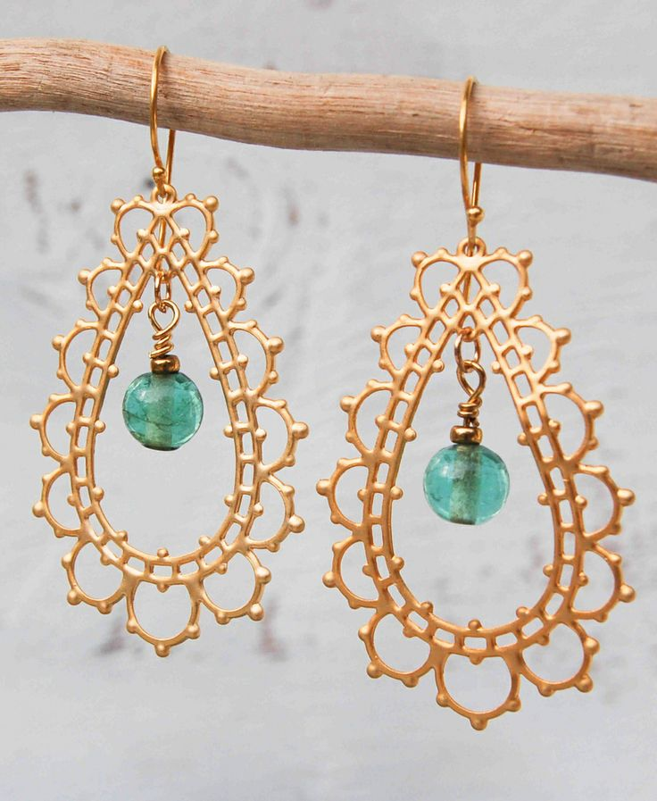 GOLD Lace Aqua Filigree Tear Drop Earrings