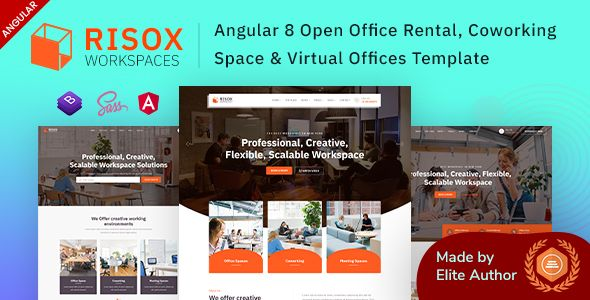 Risox Angular Open Office Coworking Space Template Stylelib Coworking Coworking Space Office Rental