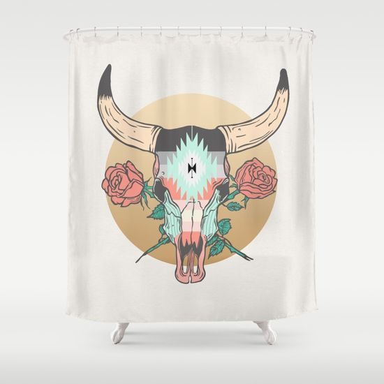 cráneo de vaca by Anthony Troester @society6 #home #decor #shower #curtain #apartment #sophomore #year #college #dorm #room #house #illustration #skull #bull #cow #western #cowboy #theme #roses #products #chic #fashion #style #gift #idea #society6 #design #shop #shopping #buy #sale #fun #accessory #accessories #art #contemporary #cool #hip #awesome  #sweet