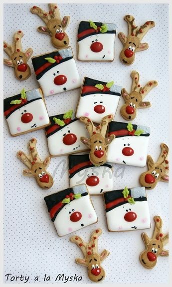 Use your favorite cut out cookie recipe & royal icing to create these cut christmas cookies. Reindeer is gingerbread man cookie cutter upside down.