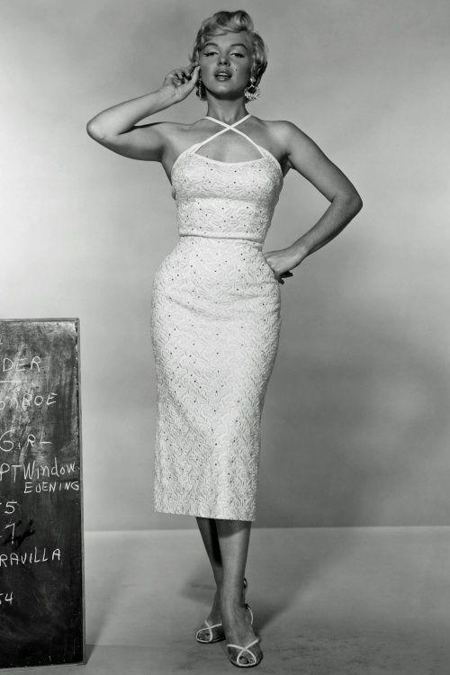 50er Marilyn Kleid in Weiß