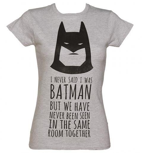 womens grey marl dc comics batman slogan t shirt tees lady and grey. Black Bedroom Furniture Sets. Home Design Ideas