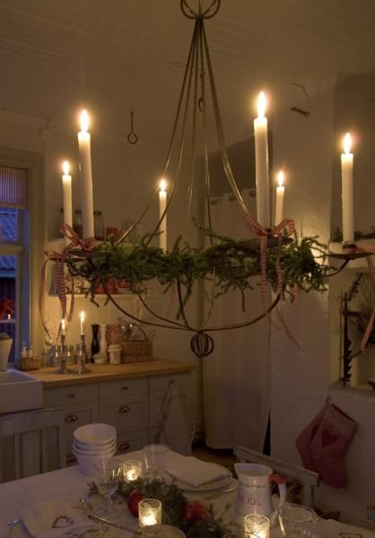 candlelit chandelier.  Love the simplicity.