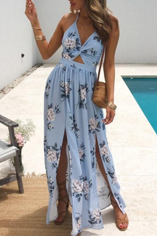 Halter Backless High Slit Floral Printed Sleeveless Maxi Dresses 2