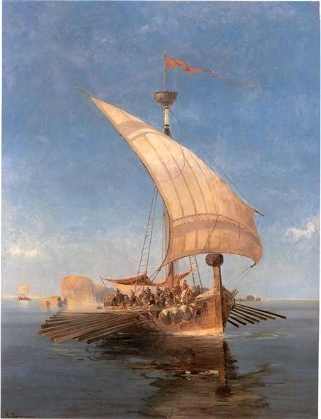 Argo - Volanakis Konstantinos- To 1856, με παρότρυνση των μεγαλύτερων αδελφών του, πήγε στην Τεργέστη για να δουλέψει ως λογιστής κοντά στον μεγάλο οίκο εμπορίας ζαχάρεως Αφεντούλη. Ο Αφεντούλης εκτίμησε τις καλλιτεχνικές ικανότητες του νεαρού Βολανάκη από τα πάμπολλα σκαριφήματα με βάρκες, πλοία και λιμάνια που ο τελευταίος έφτιαχνε μέσα στις σελίδες των λογιστικών βιβλίων.