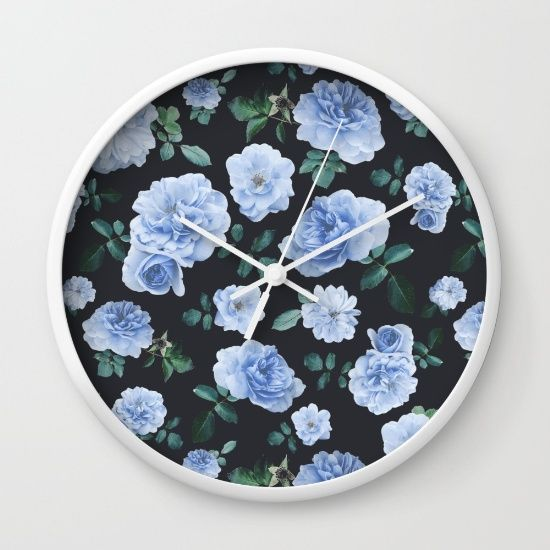 Blue Roses Flower pattern Wall Clock
