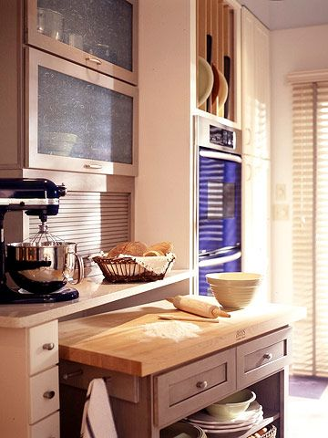 looking for baking center ideas..my kitchen in tiny and not efficient....thinking of a circle kitchen