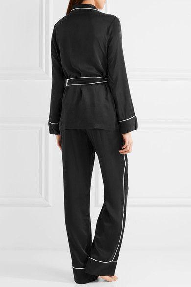 Equipment - Odette Washed-silk Pajama Set - Black -