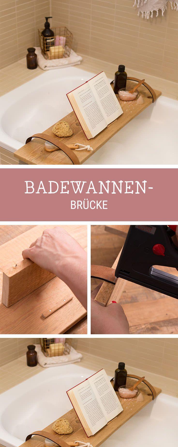 Entspannung beim Wellnessbad: Badewannentisch aus Holz bauen / bathroom inspiration: build a wooden bathtub table via DaWanda.com