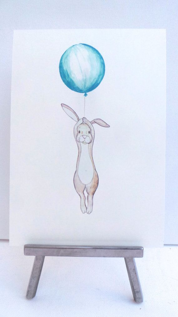 Floating Rabbit- nursery art- print- drawing-illustration -rabbit holding blue, lilac, red,pink or yellow balloon