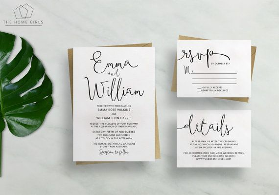 Printable Wedding Invitation Suite Calligraphy by TheHomeGirlsEtsy