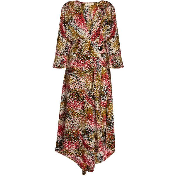 Marni Mist-print silk-crepe wrap dress (€1.135) ❤ liked on Polyvore featuring dresses, red print, red cocktail dress, plunging v neck dress, v neck cocktail dress, brown cocktail dress and v-neck dresses