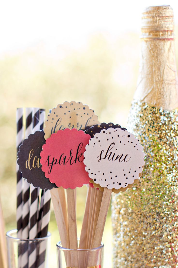 """Sip, Sparkle and Shine - Drink Toppers, New Years Party Circles, Drink Toppers, Cupcake Toppers, Drink Stirrers - 2.5"""" Round Party Circles by blushprintables on Etsy https://www.etsy.com/listing/209316403/sip-sparkle-and-shine-drink-toppers-new"""