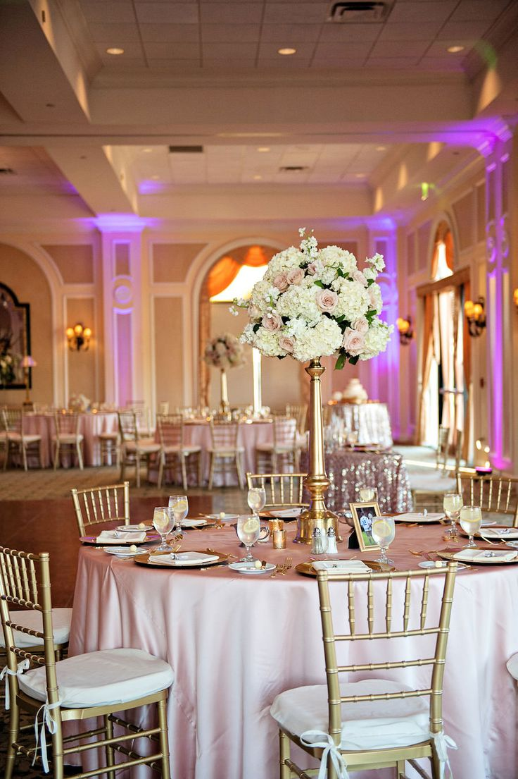 Tall white hydrangea and blush pink rose centerpiece