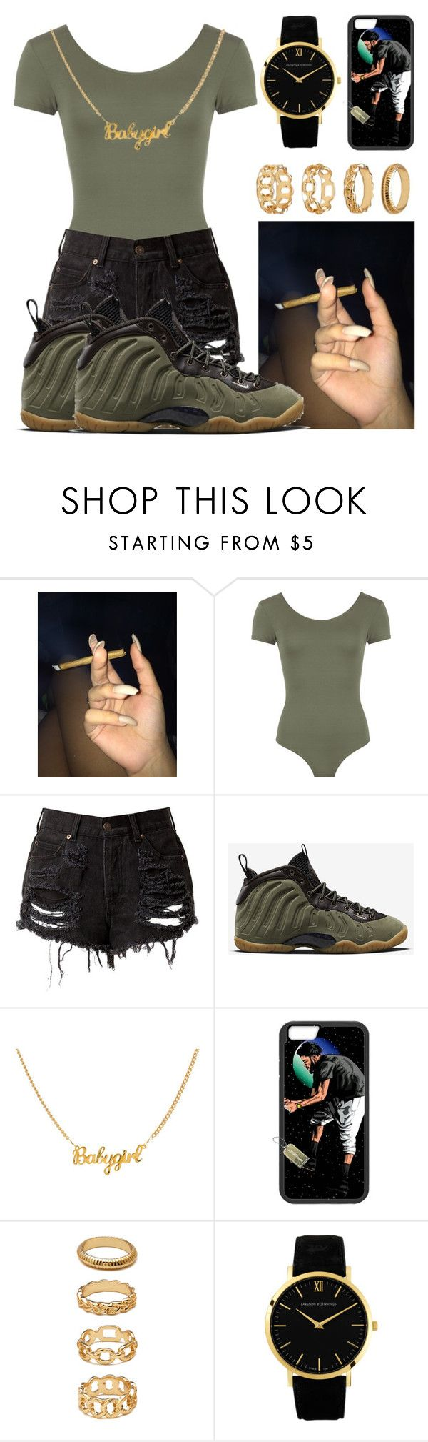 """Don't get left behind .. "" by jayleewarren ❤ liked on Polyvore featuring WearAll, NIKE, Forever 21 and Larsson & Jennings"