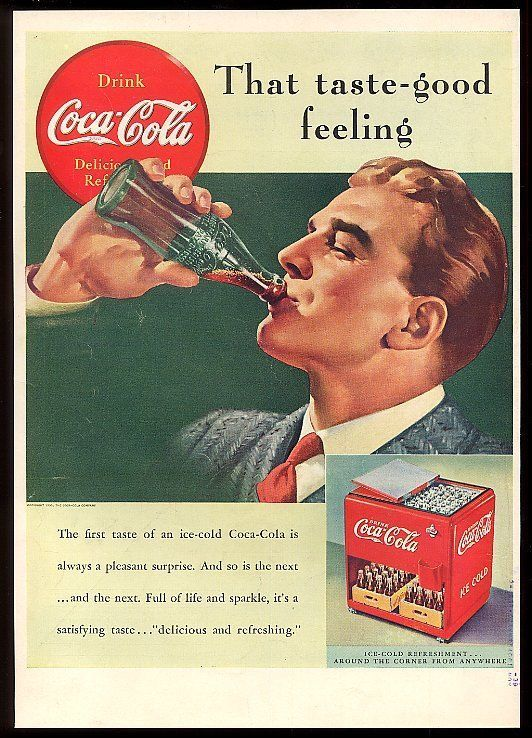 1939 Coca-Cola man with Coke glass and red bottle cooler vintage print ad