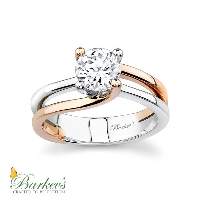 Barkev's White & Rose Gold Solitaire Engagement Ring - 6884LPW