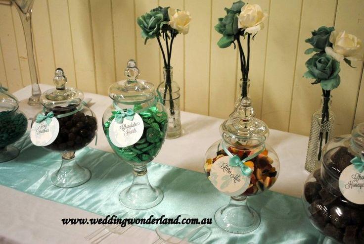 Glass lolly jars for a Tiffany Green themed Wedding done by Wedding Wonderland. #lollys #wedding #weddingideas #party #candybar #lollybar #weddinginspiration #weddingwonderlandofficial www.weddingwonder... www.facebook.com/weddingwonderland.com.au