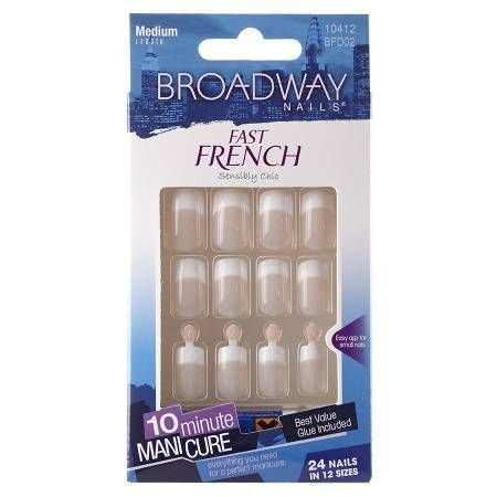 Broadway Nails Fast French Glue-On Nail Kit - 24 ea.