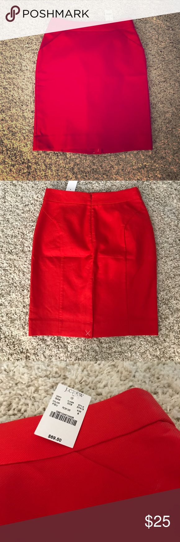 """J. Crew red pencil skirt size 8 J. Crew red pencil skirt size 8.  New with tags.  32"""" waiste; 22"""" length.  Slit in back 100% cotton. J. Crew Skirts Midi"""