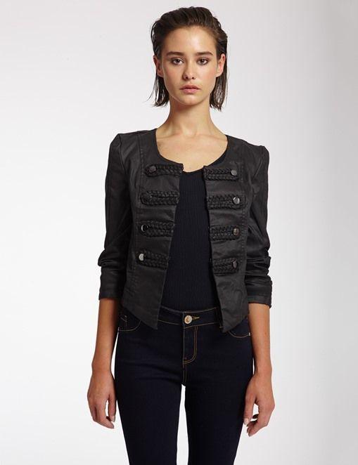 Veste Morgan, achat Veste officier en coton enduit Morgan prix promo Boutique Morgan 80.00 €