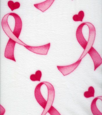 Anti Pill Fleece Fabric-Pink Ribbons On White