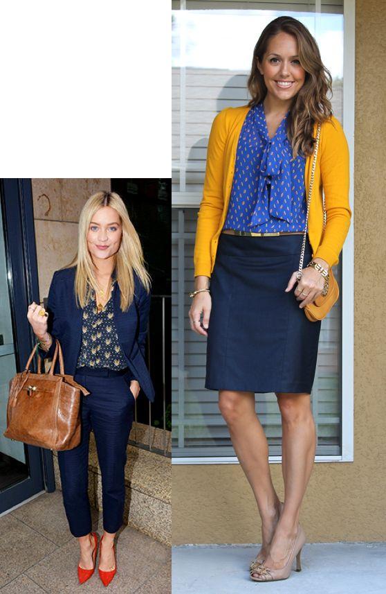 yellow cardi + blue blouse + denim pencil skirt via j's everyday fashion